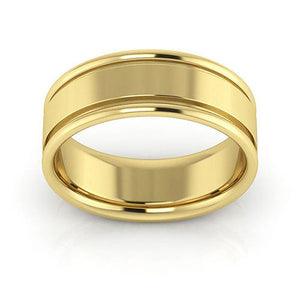 10K Yellow Gold 7mm raised edge comfort fit wedding bands