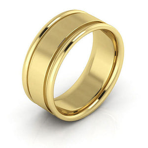 10K Yellow Gold 8mm raised edge comfort fit wedding bands