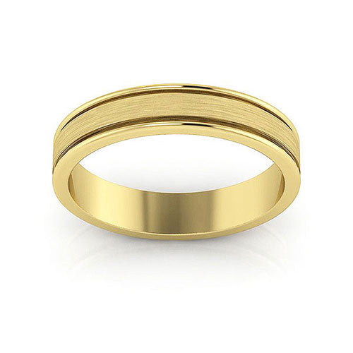 10K Yellow Gold 4mm raised edge brushed center  wedding bands