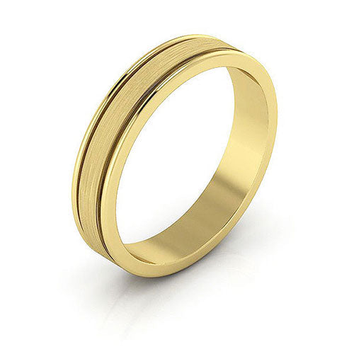 14K Yellow Gold 4mm raised edge brushed center  wedding bands