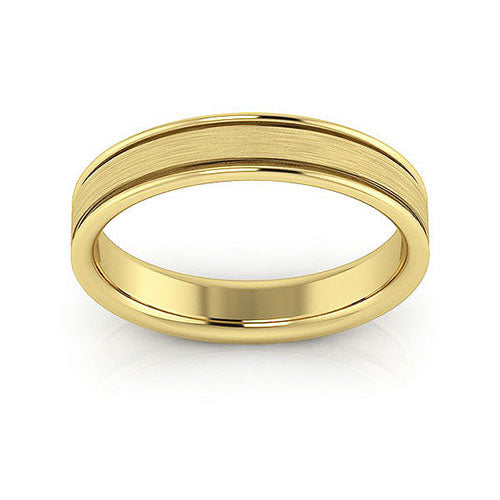 14K Yellow Gold 4mm raised edge brushed center comfort fit wedding bands