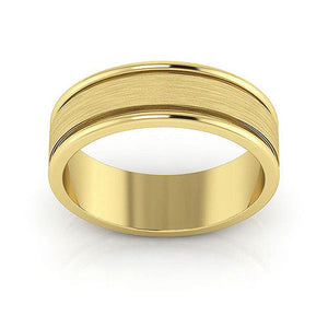 14K Yellow Gold 6mm raised edge brushed center  wedding bands