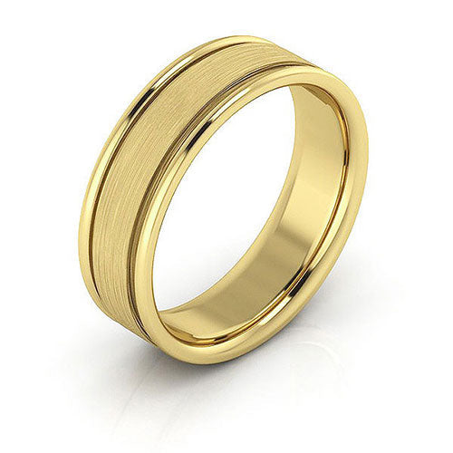 18K Yellow Gold 6mm raised edge brushed center comfort fit wedding bands