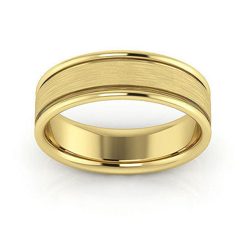 14K Yellow Gold 6mm raised edge brushed center comfort fit wedding bands