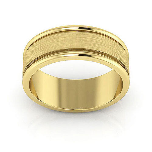 10K Yellow Gold 7mm raised edge brushed center  wedding bands