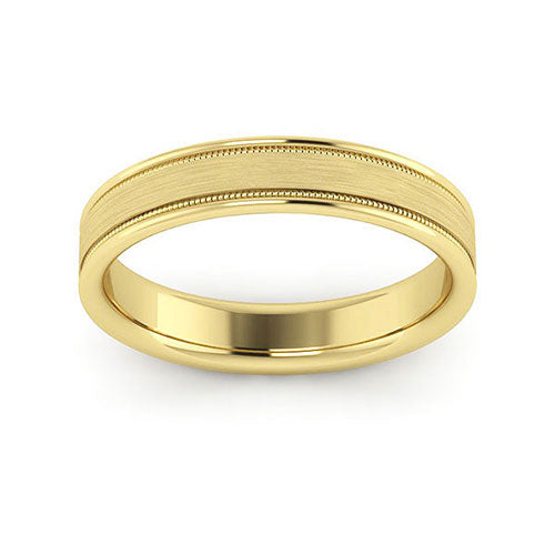 14K Yellow Gold 4mm milgrain raised edge brushed center comfort fit wedding bands