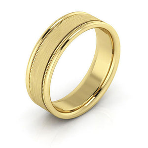 14K Yellow Gold 6mm milgrain raised edge brushed center comfort fit wedding bands