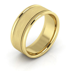 10K Yellow Gold 8mm milgrain raised edge brushed center comfort fit wedding bands