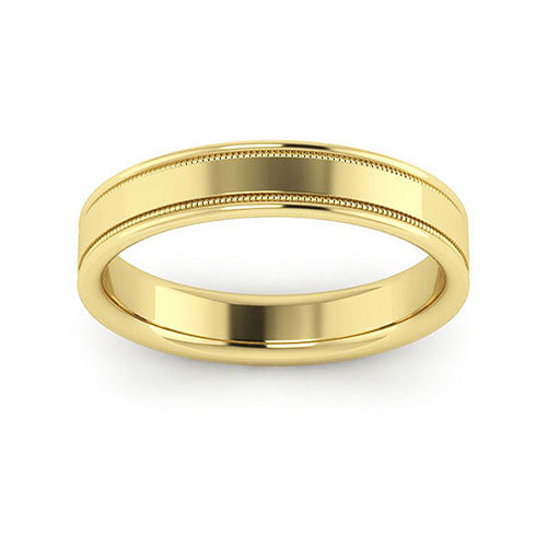 10K Yellow Gold 4mm milgrain raised edge comfort fit wedding bands