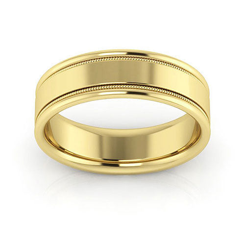 10K Yellow Gold 6mm milgrain raised edge comfort fit wedding bands