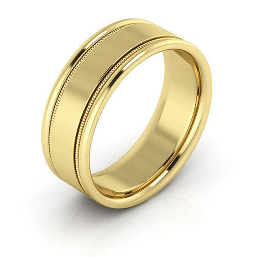 10K Yellow Gold 7mm milgrain raised edge comfort fit wedding bands