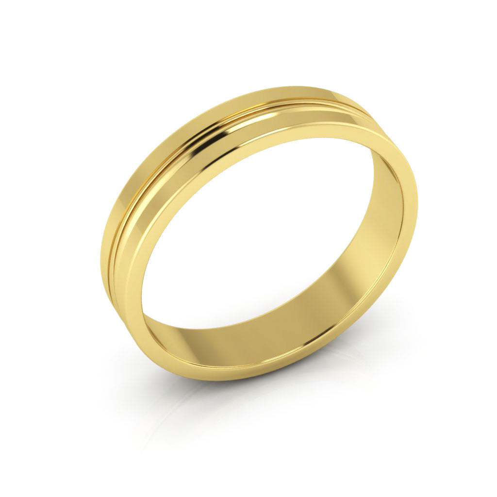 14K Yellow Gold 4mm grooved  wedding bands