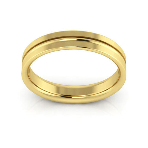 18K Yellow Gold 4mm grooved comfort fit wedding bands