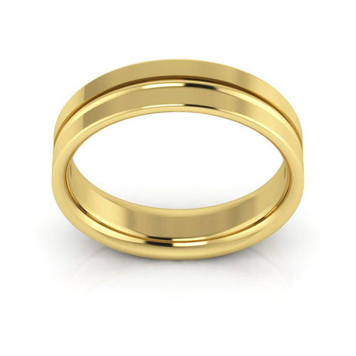 18K Yellow Gold 5mm grooved comfort fit wedding bands