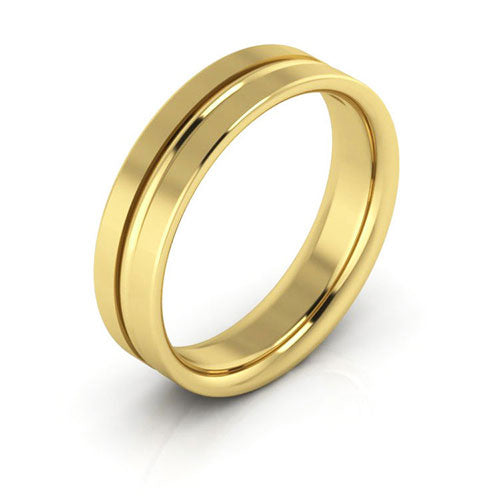 14K Yellow Gold 5mm grooved comfort fit wedding bands