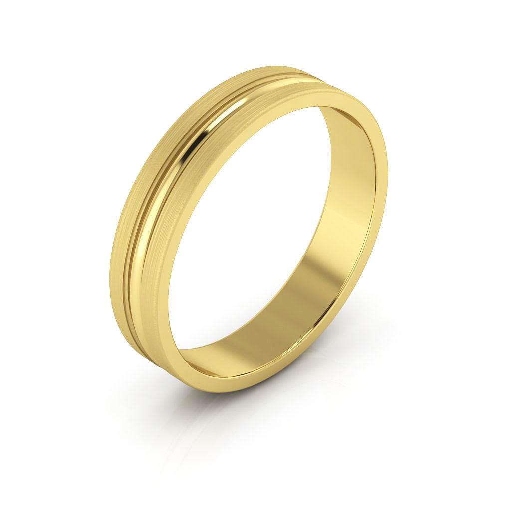 14K Yellow Gold 4mm grooved brushed  wedding bands