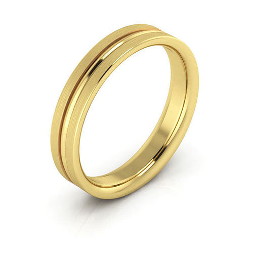 18K Yellow Gold 4mm grooved brushed comfort fit wedding bands