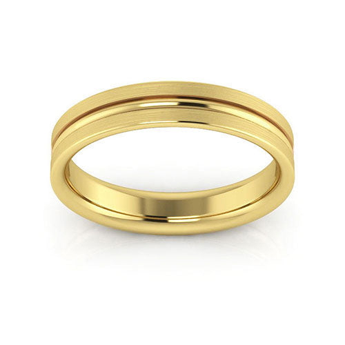14K Yellow Gold 4mm grooved brushed comfort fit wedding bands