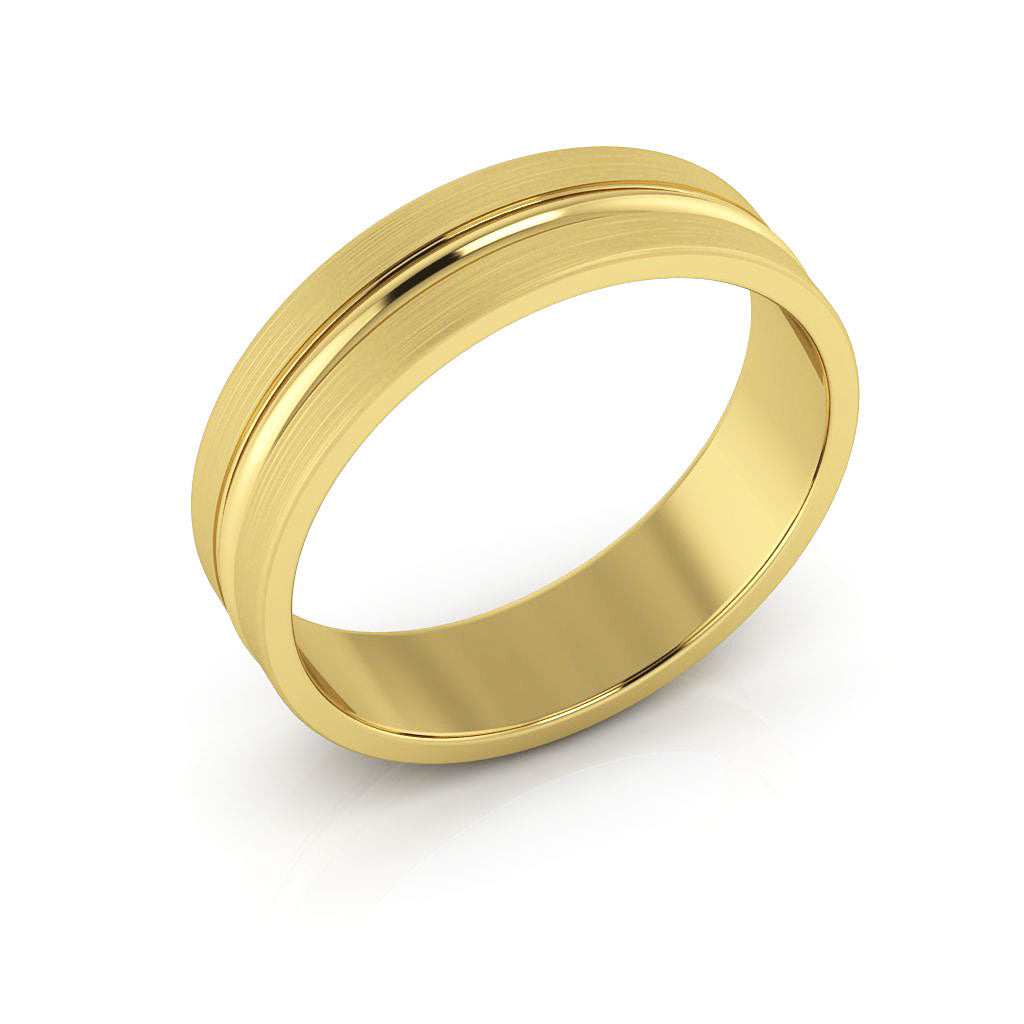 14K Yellow Gold 5mm grooved brushed  wedding bands