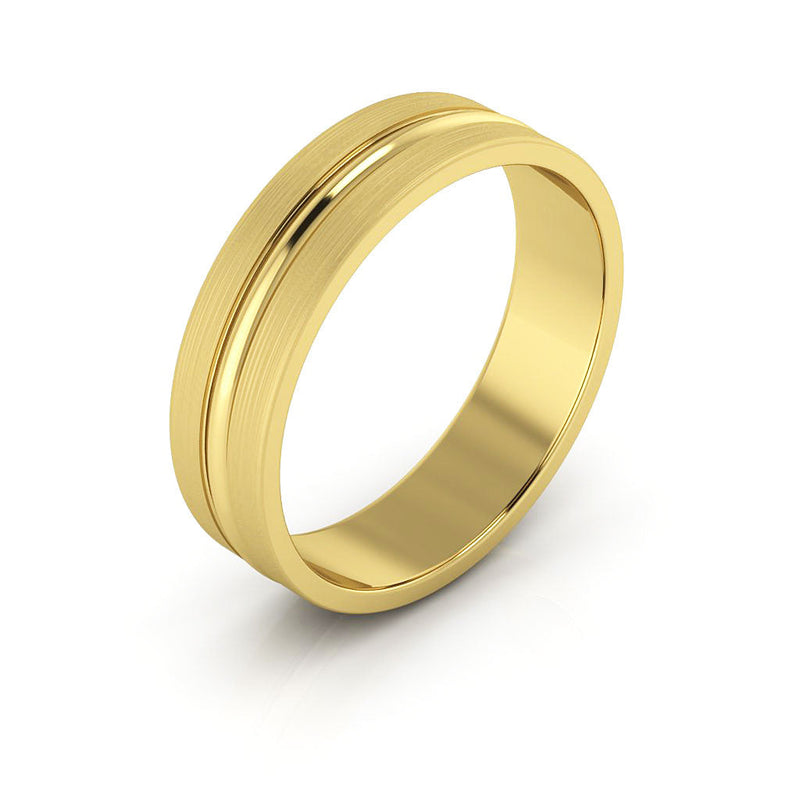 10K Yellow Gold 5mm grooved brushed  wedding bands