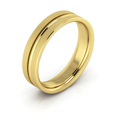18K Yellow Gold 5mm grooved brushed comfort fit wedding bands