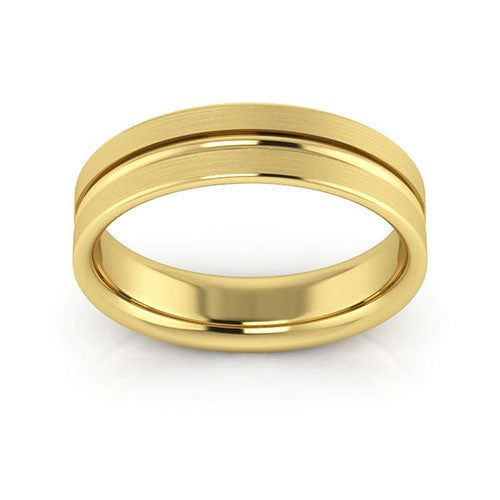 14K Yellow Gold 5mm grooved brushed comfort fit wedding bands