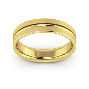 10K Yellow Gold 5mm grooved brushed comfort fit wedding bands