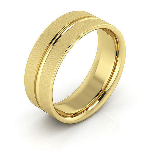 18K Yellow Gold 7mm grooved brushed comfort fit wedding bands