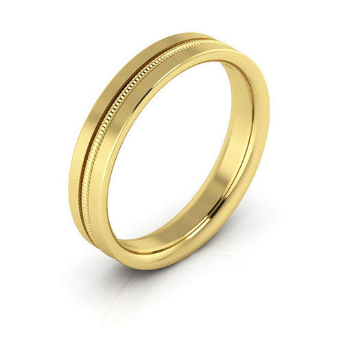 14K Yellow Gold 4mm milgrain grooved  comfort fit wedding bands