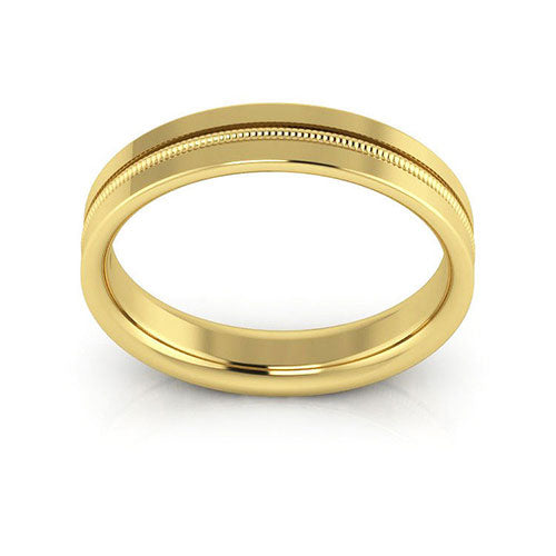 18K Yellow Gold 4mm milgrain grooved  comfort fit wedding bands