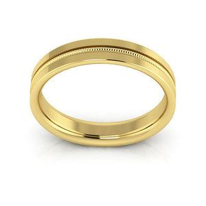 10K Yellow Gold 4mm milgrain grooved  comfort fit wedding bands