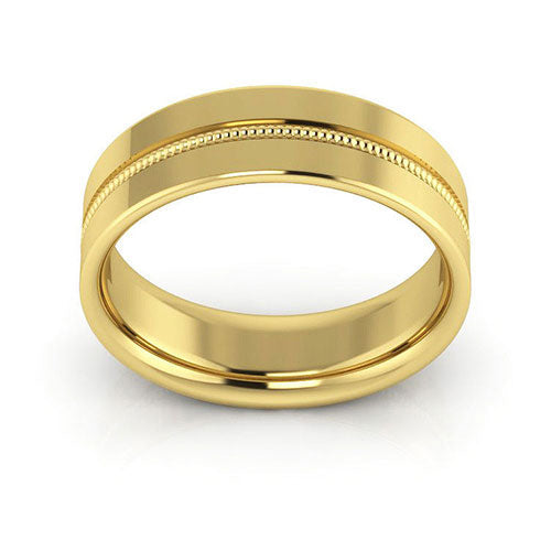 18K Yellow Gold 6mm milgrain grooved  comfort fit wedding bands