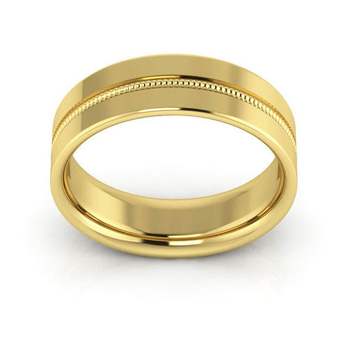 10K Yellow Gold 6mm milgrain grooved  comfort fit wedding bands