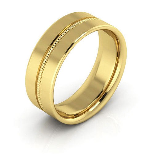 18K Yellow Gold 7mm milgrain grooved  comfort fit wedding bands