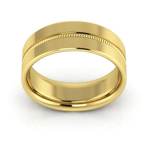 14K Yellow Gold 7mm milgrain grooved  comfort fit wedding bands