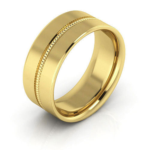18K Yellow Gold 8mm milgrain grooved  comfort fit wedding bands
