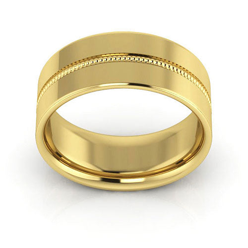14K Yellow Gold 8mm milgrain grooved  comfort fit wedding bands