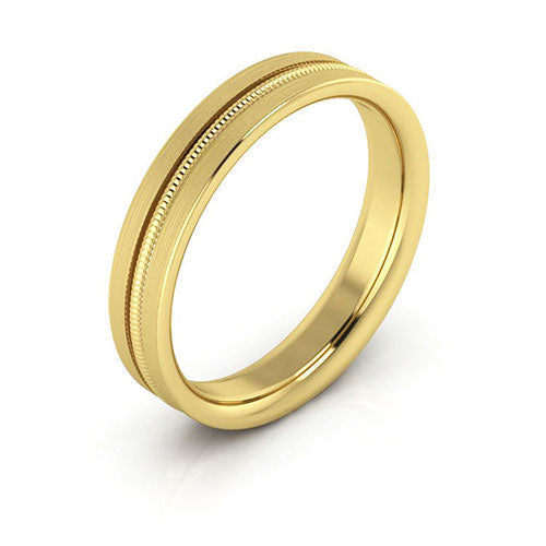 18K Yellow Gold 4mm milgrain grooved  brushed comfort fit wedding bands