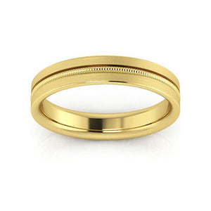 10K Yellow Gold 4mm milgrain grooved  brushed comfort fit wedding bands