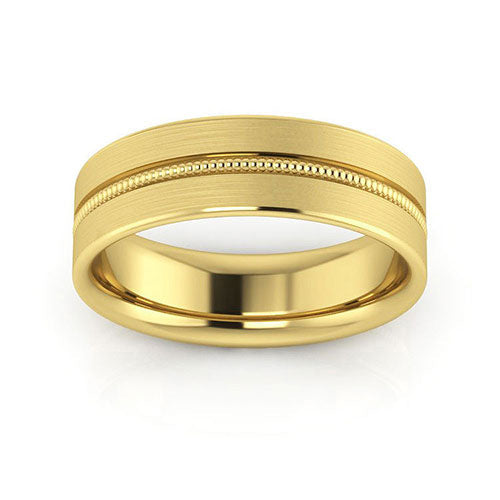 18K Yellow Gold 6mm milgrain grooved  brushed comfort fit wedding bands