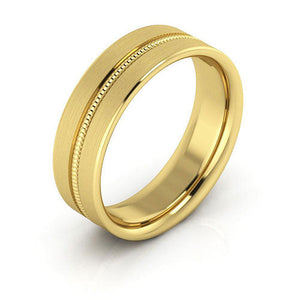 14K Yellow Gold 6mm milgrain grooved  brushed comfort fit wedding bands