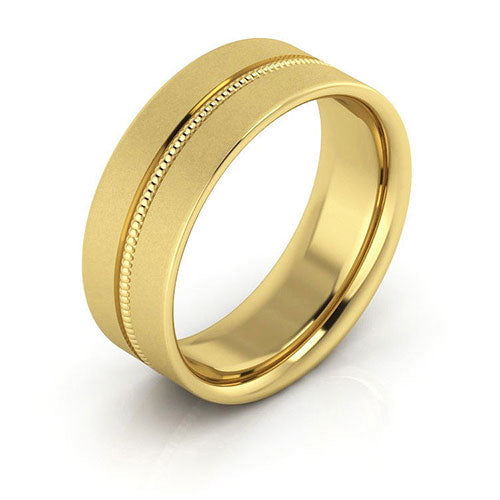 18K Yellow Gold 7mm milgrain grooved  brushed comfort fit wedding bands
