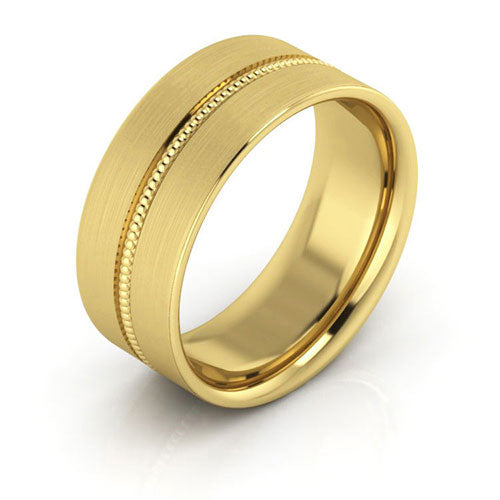 18K Yellow Gold 8mm milgrain grooved  brushed comfort fit wedding bands