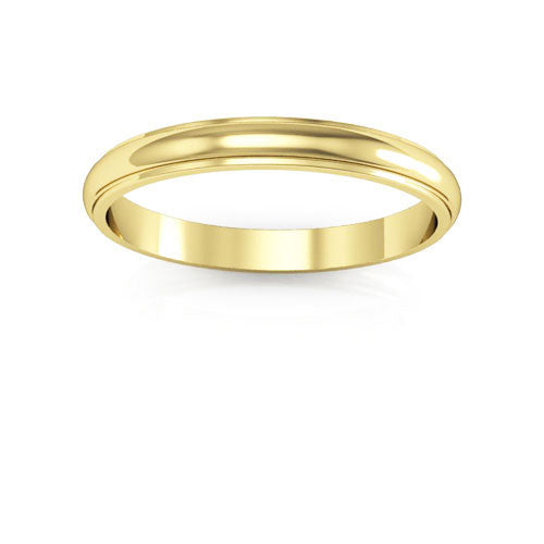 18K Yellow Gold 2.5mm half round edge  wedding bands