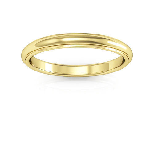 14K Yellow Gold 2.5mm half round edge comfort fit wedding bands