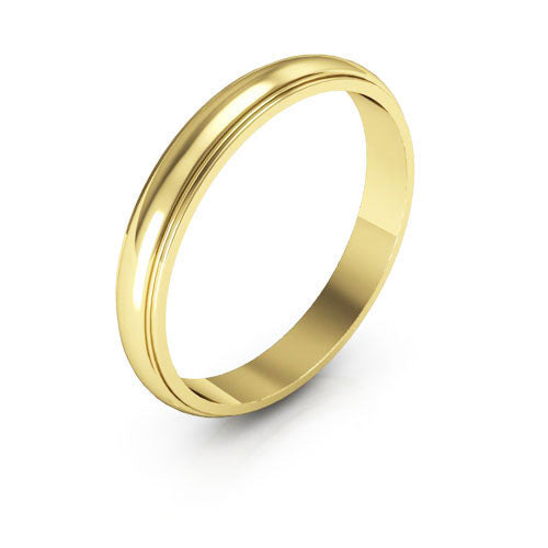 14K Yellow Gold 3mm half round edge  wedding bands