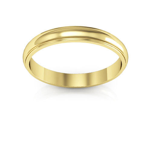 10K Yellow Gold 3mm half round edge  wedding bands