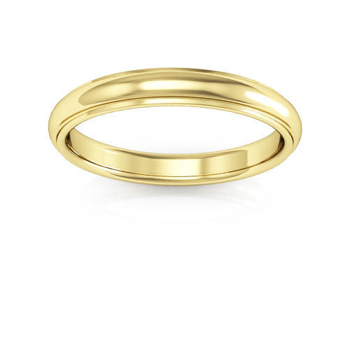14K Yellow Gold 3mm half round edge comfort fit wedding bands