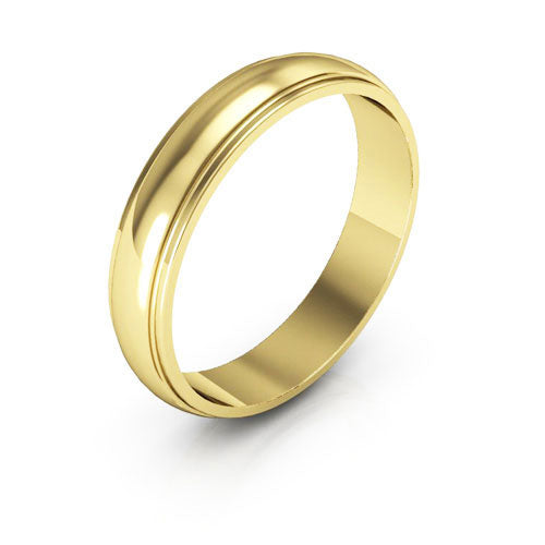 18K Yellow Gold 4mm half round edge  wedding bands