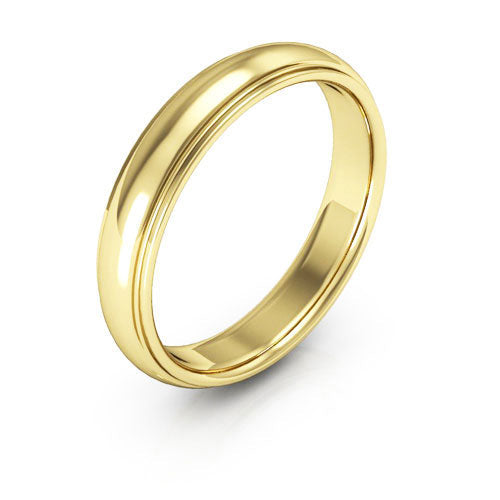 18K Yellow Gold 4mm half round edge comfort fit wedding bands